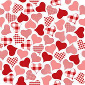 Seamless background of check hearts — Stock Vector