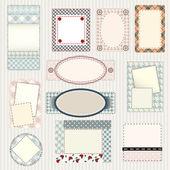 Uppsättning etiketter quiltning design — Stockvektor