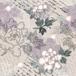 Peony pattern with script — Image vectorielle