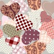 Seamless background of hearts patchwork — Stock Vector