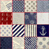 Quilting design in nautical style — 图库矢量图片