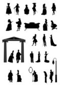 Antique people silhuetts — Stock Vector