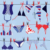 Summer background, swimsuits. — Stock Vector