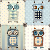 Patchwork with owls — Stock Vector