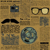 Newpaper with hipster elements — Vecteur