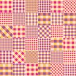 Patchwork of pink plaid scraps fabric. — Stock Vector