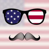 Sunglasses and mustaches. — Stockvector