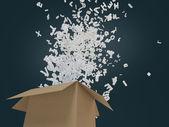 Witte letters vliegen uit de doos — Stockfoto