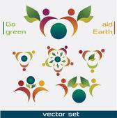 Green guradian angels — Stock Vector