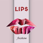 Vector geometric fashion lips — Stock Vector