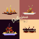 Set of four delicious meals — Stock Vector