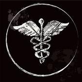 Grunge Caduceus medical symbol, vector image. — Stock Vector