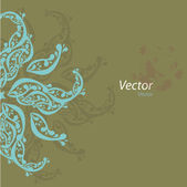 Vector ornamental oriental blue and brown background with tiny elements — Stock vektor