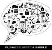 A speech bubble containing multicolored pictures related to business, marketing and data — Stock Vector