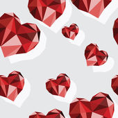 Origami-style background with card suits: hearts — Stockvector