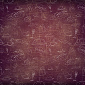 Grunge cafe background with tiny drawings and an empty stripe to put your information — Stock Photo