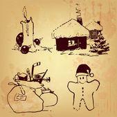 Noel ve yeni yıl çizim seti — Stok Vektör
