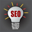 Stock Photo: Seo bulb with base of network website keyword mediblog