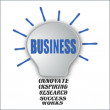 Business bulb with base of innovate inspiring research success works — Stock Photo