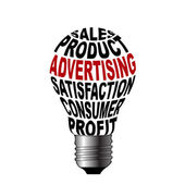 Bulb of sales product advertising satisfaction consume profit — Stock Photo