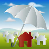 Red home with umbrella protection and security — Stock Photo