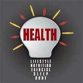 Zdravotní žárovka se základnou životní styl, výživa, cvičení, spánek, tělo — Stock fotografie