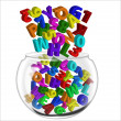 Stock Photo: Alphabets and numbers pot