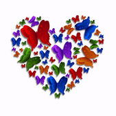 Colored Butterfly Heart — Stock fotografie