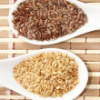 Brown and golden flax seeds — Stock Photo