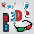 Stock Vector: 3D Glasses