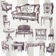 Antique Furniture — Vector de stock #30844409
