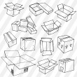 Set of Hand Drawn Empty Packages — Stock Vector