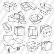 Set of Hand Drawn Empty Packages — Stock Vector #30844569