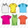Six colorful t-shirts — Stock Vector