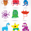 Cute funny monsters — Stock Vector