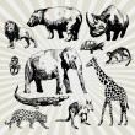 Set of Exotic Animals — Stock Vector