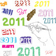 Set of hand drawn 2011 — Stock Vector