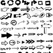 Stock Vector: Many doodled arrows