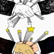 Shaking Hands With Stars — 图库矢量图片