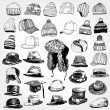 Stok Vektör: Collection of Hats