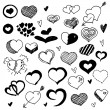Doodled Hearts — Stock Vector