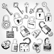 Stock Vector: Different Locks and Keys