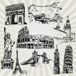 Sketches of Famous Places — Stock Vector