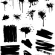 Black splashes and brush strokes — Stok Vektör