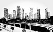 Big City with Skyscrapers — Stock Vector