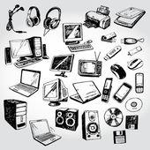 Muitos dispositivos doodled — Vetorial Stock