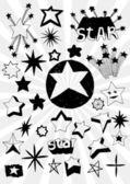Many Doodled Stars — Stock Vector