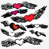 Flying Hearts — Stock Vector