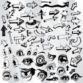 Set of Doodled Arrows — Stock Vector