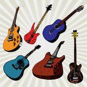 Guitarras coloridos — Vector de stock